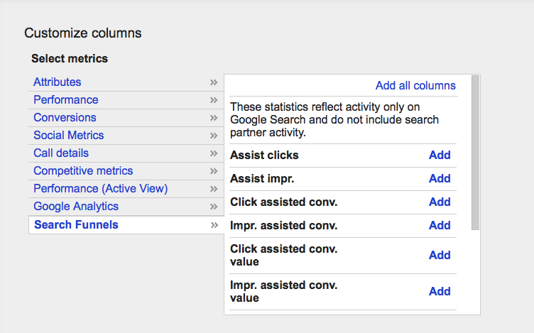 Google AdWords assist clicks