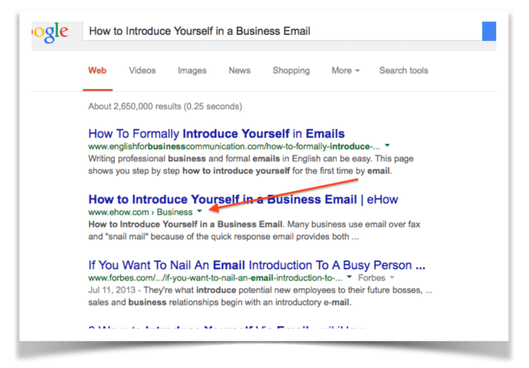 "Screenshot of Google Search for ""How to introduce yourself in a business email"""