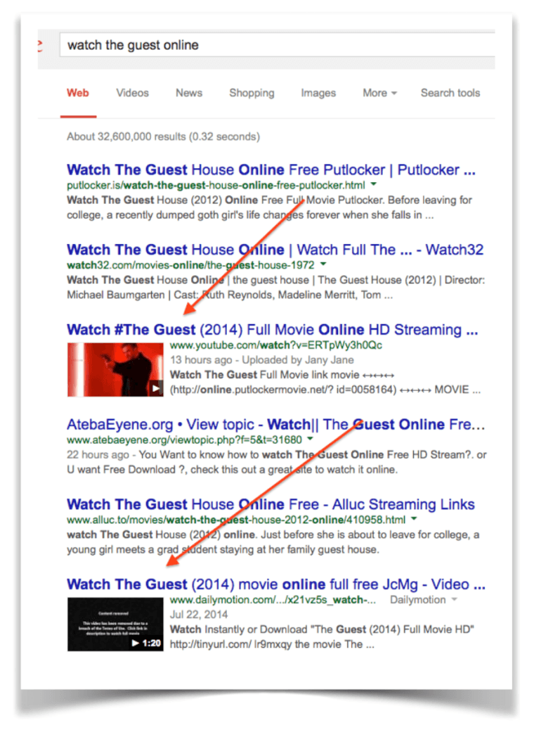 "Screenshot of Google Search for ""watch the guest online"""