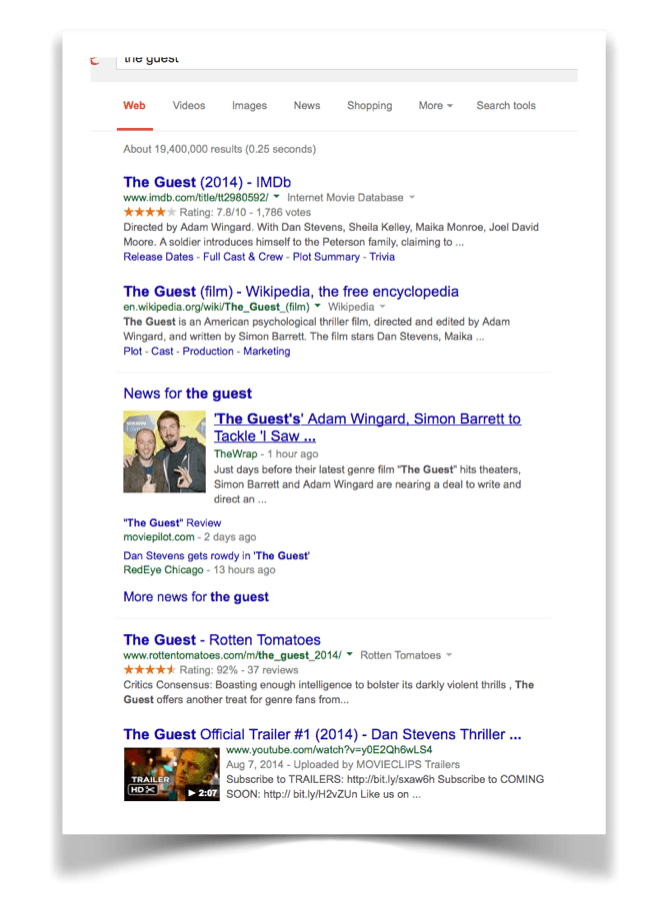 "Screenshot of Google search for ""the guest"""