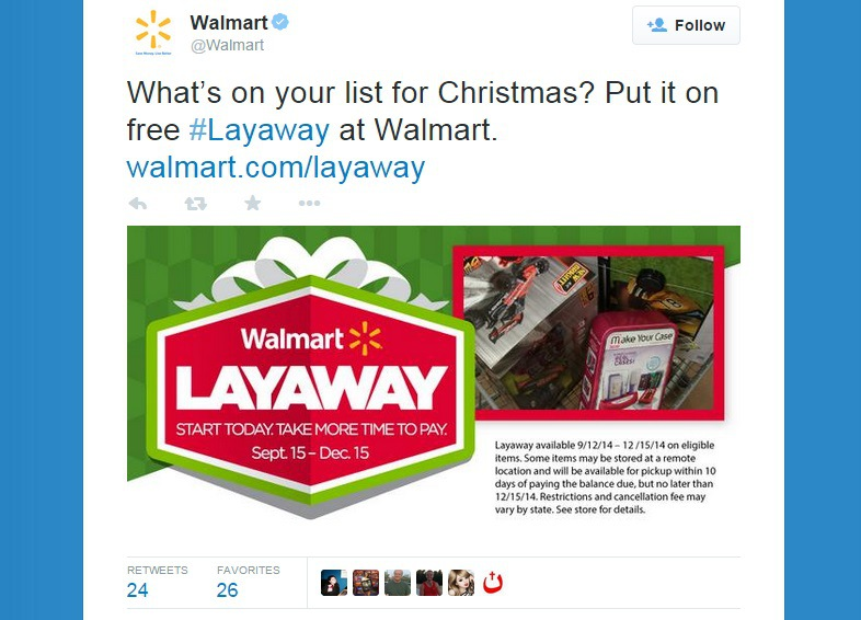 Screenshot of @Walmart taken on 11/5/2014