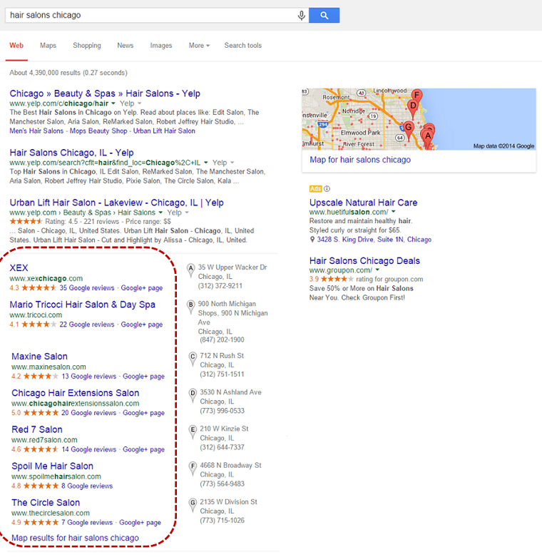 google search for hair salons chicago
