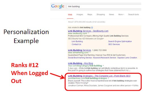 Google search personalization example
