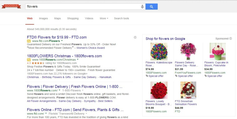 Google Paid Search Results