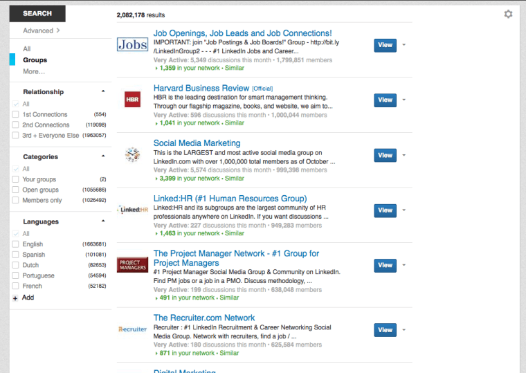 These are just a few of the groups LinkedIn has selected for me.
