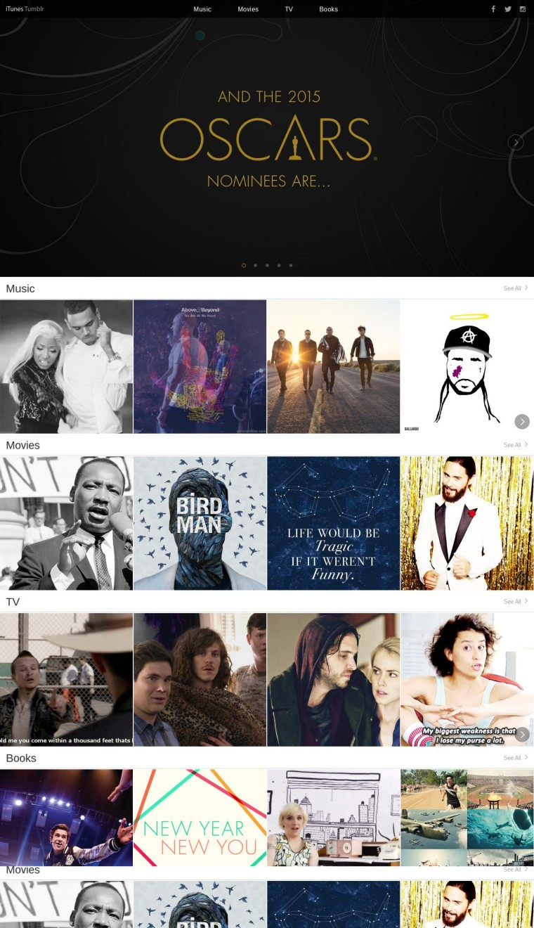 iTunes Tumblr - 2015 Oscars Nominees