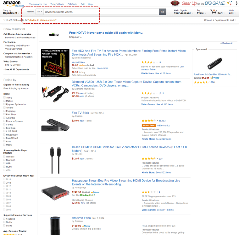 Screenshot from amazon.com taken 2/1/2015