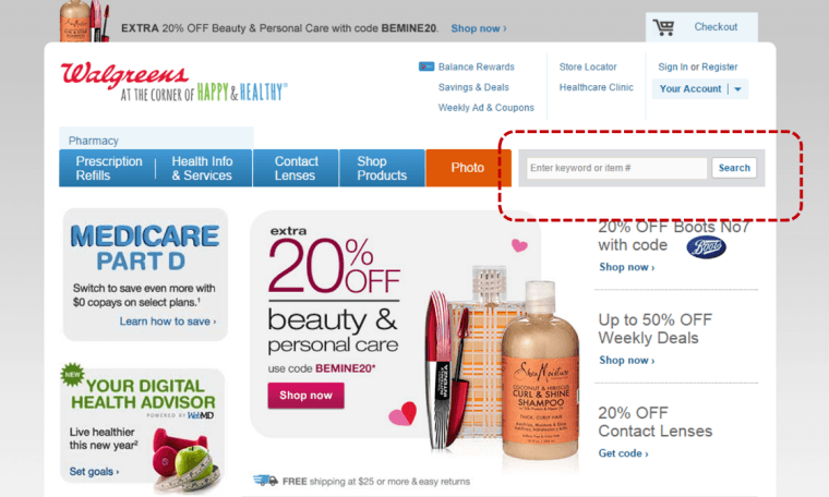 Screenshot from walgreens.com taken 2/1/2015
