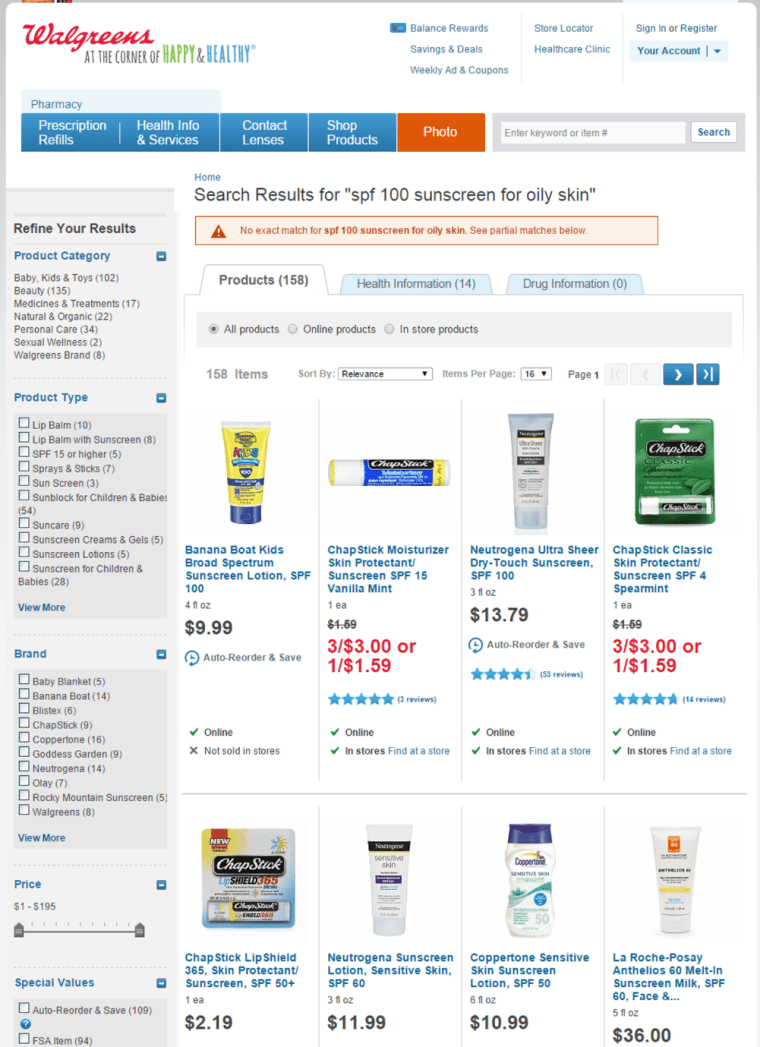 walgreens search results