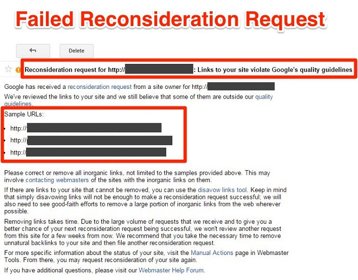 Failed Reconsideration Request