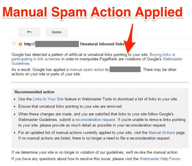Manual Spam Action Applied