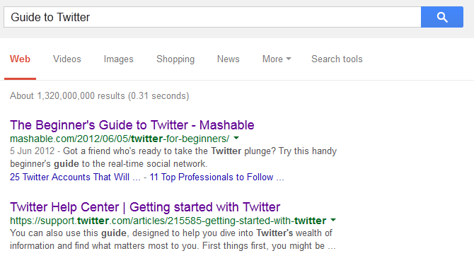 Google guide to Twitter