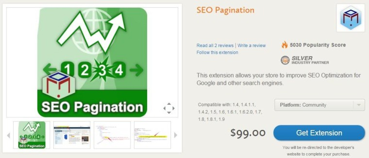 Screenshot of Pagination Extension from Magento Connect