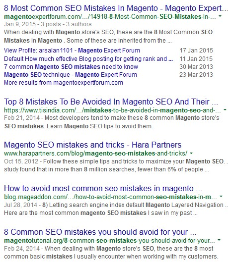 Screenshot of February 1st, 2015 Magento SEO Search Results