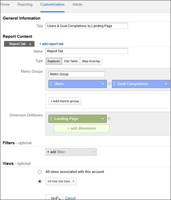 Screenshot of setting up a Google Analytics custom report for landing pages.