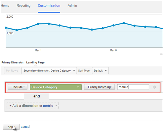 Screenshot of how to configure a mobile only device category filter in a custom landing page report in Google Analytics