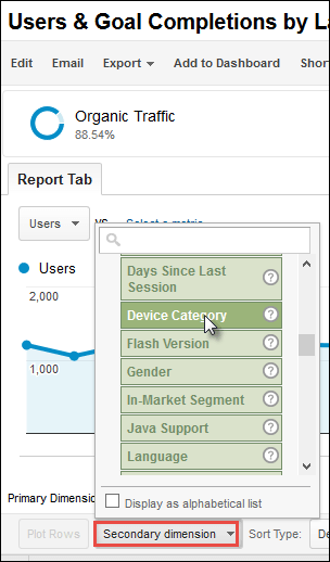 Screenshot of how to drill down to device category within a custom report in Google Analytics