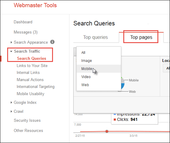 How to view only mobile pages and search queries in Google Webmaster Tools