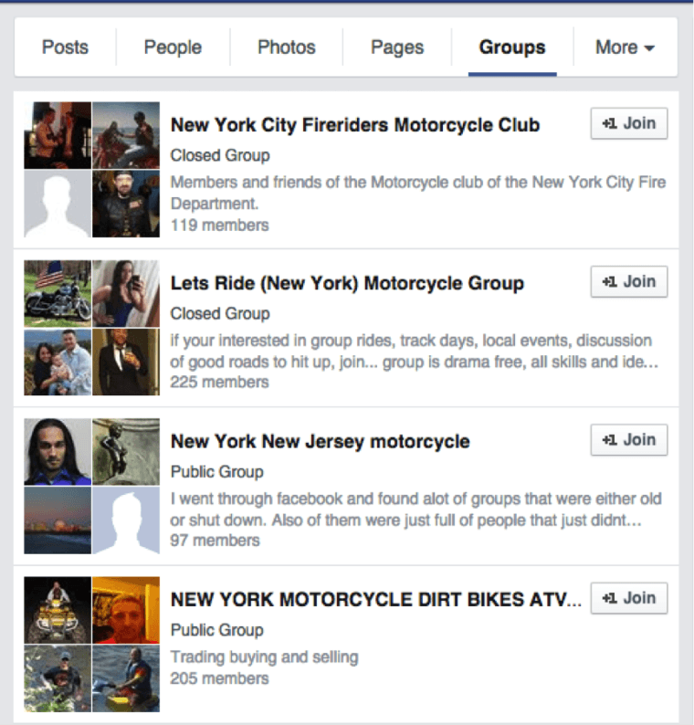 Facebook Motorcycle Groups effective marketing