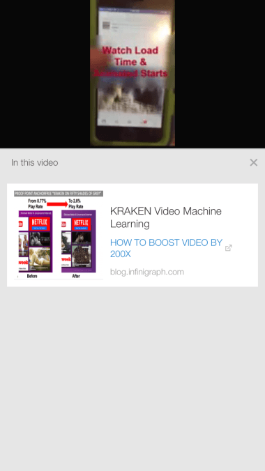 Example of a mobile card on top of a YouTube video. What shows when you click the (I) in the upper right of the video Photo / Screen Shot 04/14/15 www.youtube.com on iPhone 6