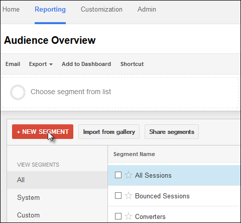 Screenshot of creating a new, custom segment in Google Analytics.