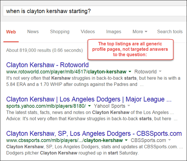 An example of a search result with no specific answers to a specific question.