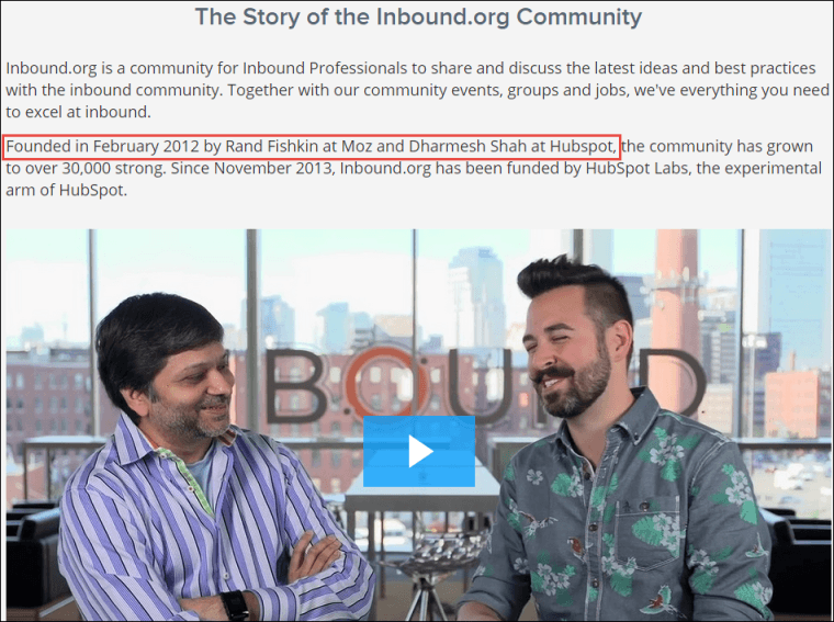 A screenshot of Inbound.org's about page.