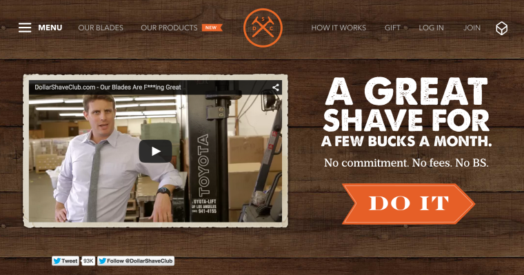 Dollar Shave Club homepage screenshot