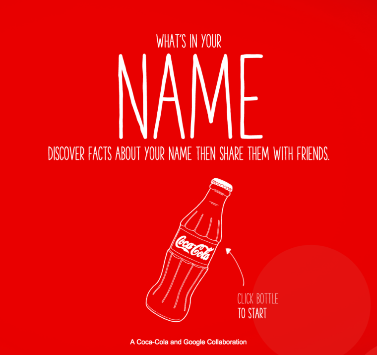 Share a Coke Campaign website screenshot