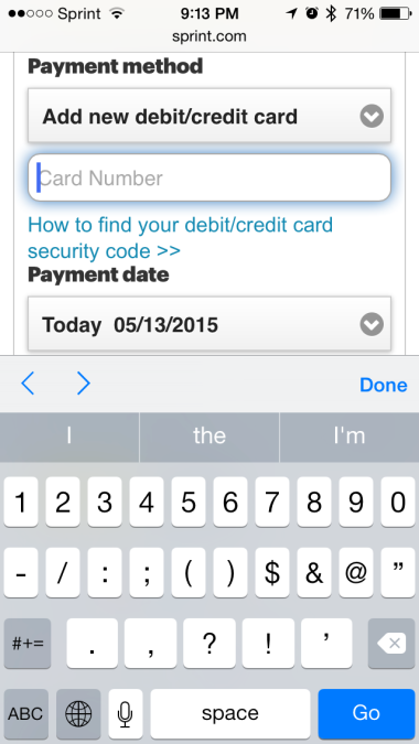 How Not To Do Your Credit Card Field on Mobile