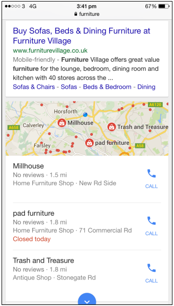 """Mobile SERP for """"furniture"""""""