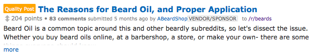 A Beard Shop contributes and article about beard oil to /r/Beards.