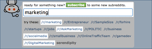 "Subreddit Search for ""marketing"""