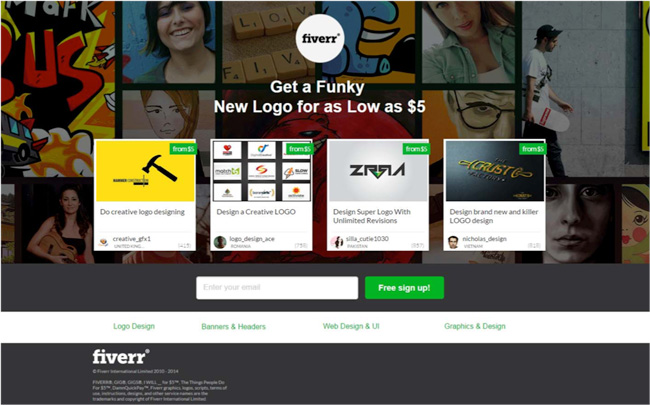 Fiverr's landing page design before Yoav arrived.