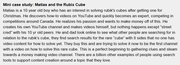 Casestudy text box of boy with Rubik's cube