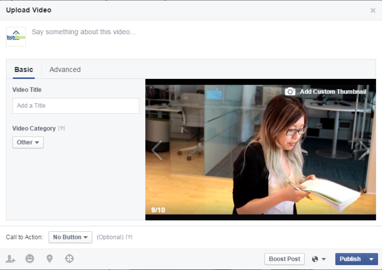 facebook video upload screenshot