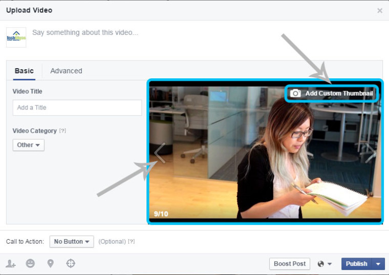 add custom thumbnail facebook videos