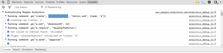Google Analytics Debugger Console Screenshot