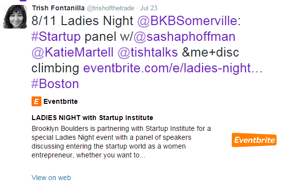 Screenshot showing a tweet from a Startup Institute Community Manager promoting a local events