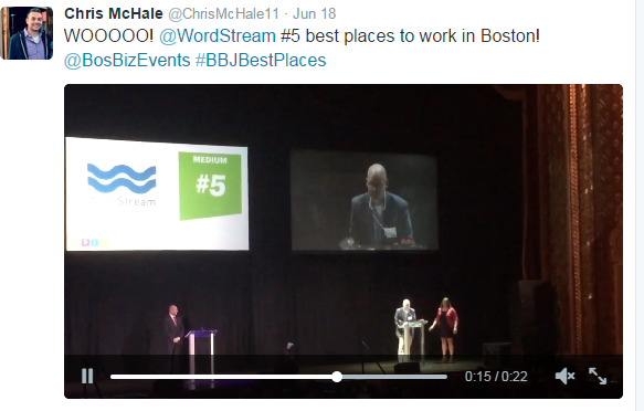Humanize brand image showing a Tweet of a WordStream employee promoting the company