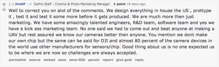 GoPro's marketing manager sets the record straight about their design process.