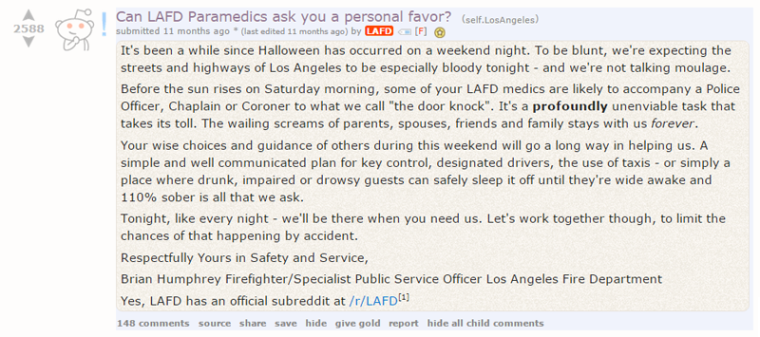 The Los Angeles Fire Department asks /r/LosAngeles for a favor