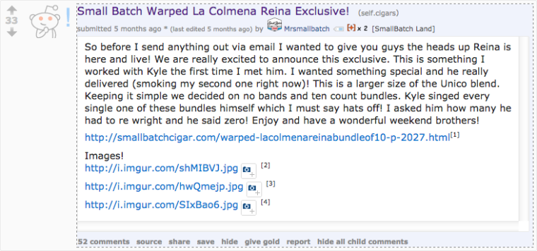 MrSmallBatch shares an exclusive offer from his website with the /r/Cigars community.