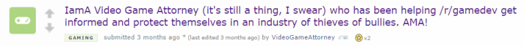 The Video Game Attorney reaches the front page of Reddit with a successful AMA.