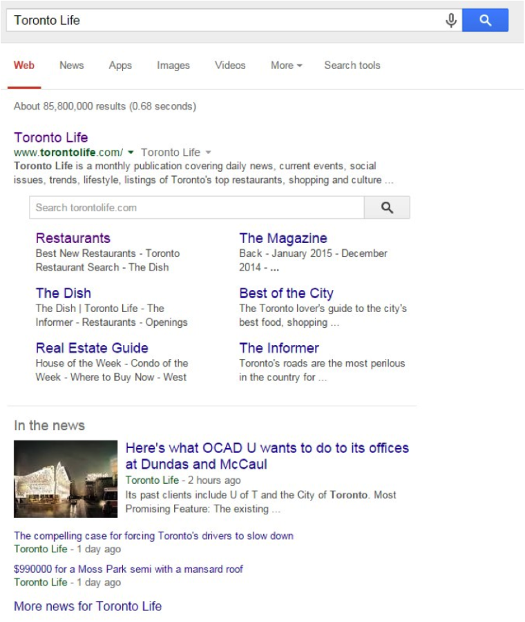 Toronto Life SERP Screenshot
