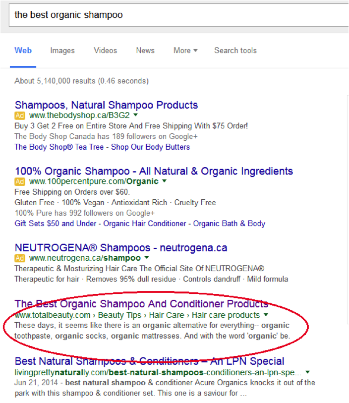 SERP for Best Organic Shampoo