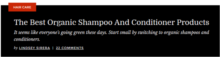 Total Beauty Organic Shampoo Page Screenshot