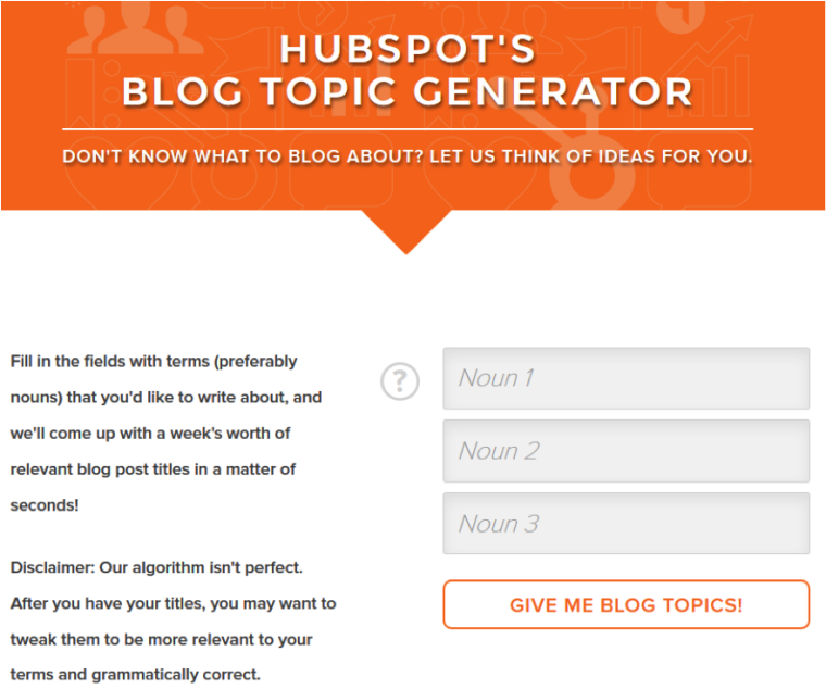 Screenshot of Hubspot Topic Generator