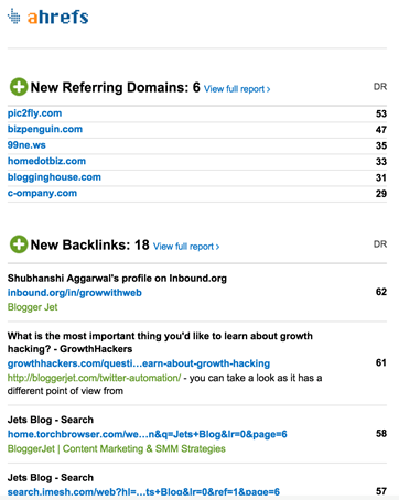 Get notified when your competitors receive new backlinks