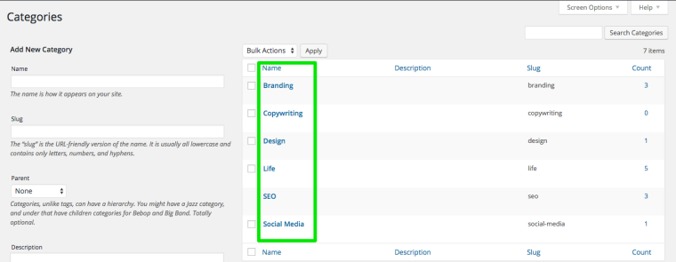 Screenshot of Anna Crowe WordPress Categories